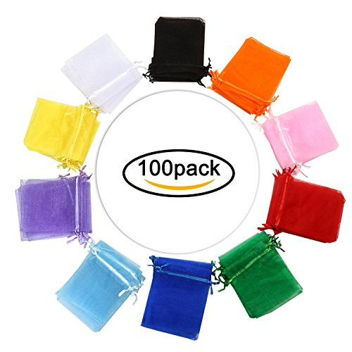 Hengu 100Pcs 4x5 inches Assorted Colors Sheer Drawstring Organza Candy Jewelry Pouches Wedding Party Christmas Favor Gift (Satin Ribbons Jewellery Pouch)