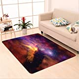 Nalahome Custom carpet Space Stars and Nebula Gas and Dust Cloud Celestial Solar Galacy System Print Purple Red Orange area rugs for Living Dining Room Bedroom Hallway Office Carpet (6.5' X 10')