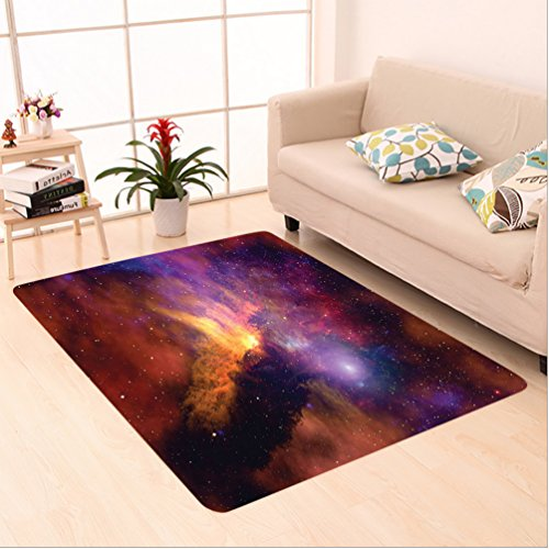 Nalahome Custom carpet Space Stars and Nebula Gas and Dust Cloud Celestial Solar Galacy System Print Purple Red Orange area rugs for Living Dining Room Bedroom Hallway Office Carpet (6.5' X 10') by Nalahome