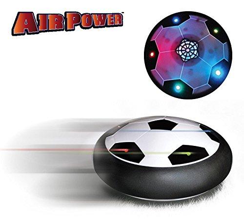 Air Power Luftkissen Disk Fußball-Spiel | Ein leuchtender Fußball auf einem Luftkissen, das über Teppiche, Fußböden, Einfahrten und Wege gleitet | Bleibt immer auf dem Boden, sodass Fensterscheiben und andere Gegenstände nicht zu Bruch gehen | Springt von selbst von Wänden und anderen Gegenständen zurück, ohne diese zu beschädigen | Aufregende Beleuchtung im Dunkeln | Unbegrenzte Spielmöglichkeiten: Fußball, Frisbee, Hockey, Curling, Kegeln, ...