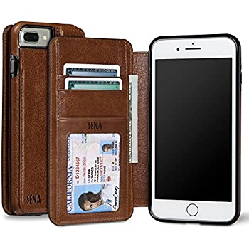 Sena Heritage Walletbook, Drop safe leather wallet book case for the iPhone 7 Plus - Cognac