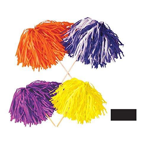 Club Pack of 144 Black Football Themed Pom Pom Tissue Shakers 16