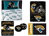 "Northwest NFL Jacksonville Jaguars ""Monument"" Twin Sheet Set with 1 Blanket, 1 Throw, 1 Rug, and 2 Cloud Pillows"