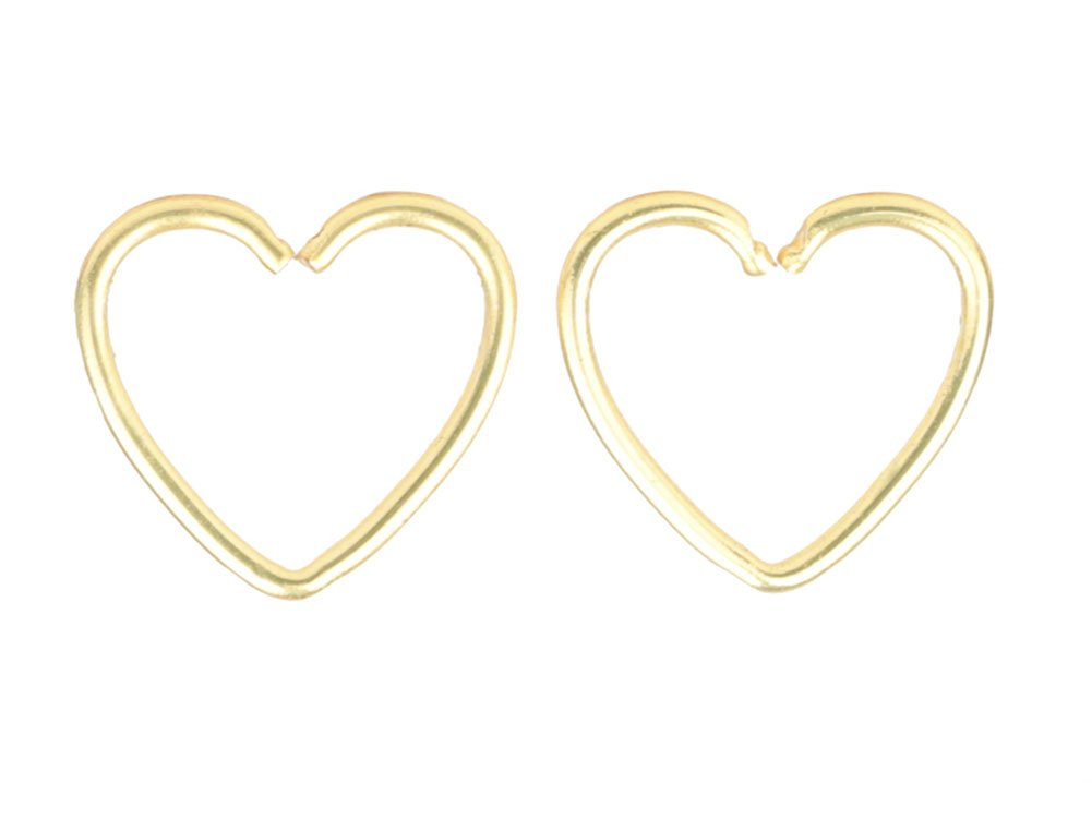 CM A+ 1 Pair Gold Surgical Steel Heart Shaped Lip Ear Nose Hoop Ring Earrings Clip Non Piercing Jewelry