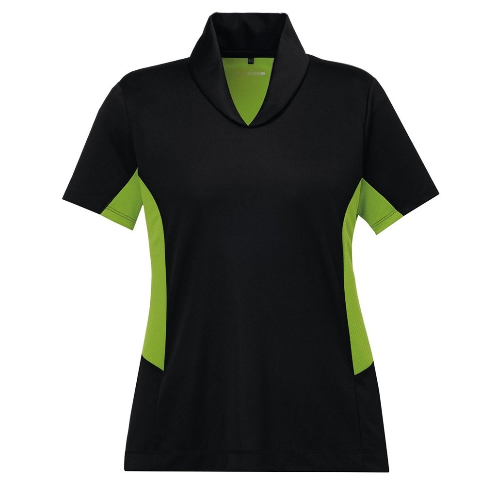 Ash City Womens Rotate Performance Polo (Small, Black/Acid Green)