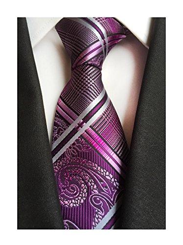 Secdtie Men's Fashion Purple Jacquard Woven Silk Tie Microfiber Formal Necktie ()