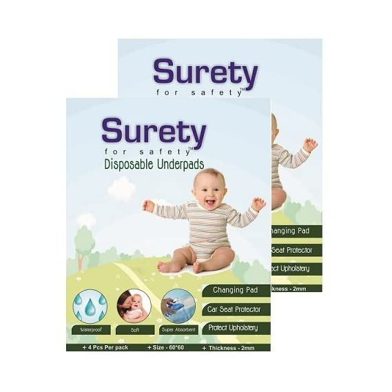 Surety For Safety Cotton Disposable Underpads - Pack of 2