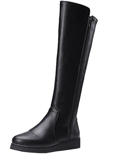 321bd9be6 Amazon.com | BIGTREE Riding Boots Women Fall Winter Warm Casual Zipper  Comfortable Black Flat Knee High Boots | Knee-High