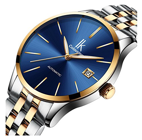 Mini Solid Gold Watch - Luxury Men Sports Business Calendar Automatic Mechanical Stainless Steel Waterproof Watches (Silver Gold Blue)