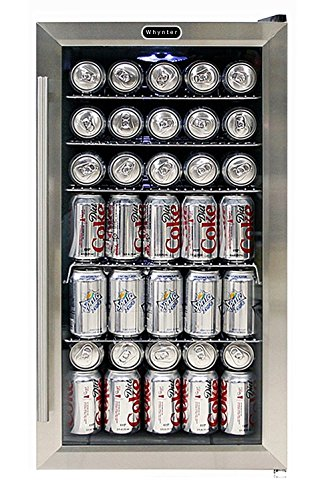 Whynter BR-130SB Beverage Refrigerator with Internal Fan, Black/Stainless Steel (Freestanding Mid Range)