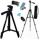 FOANT Aluminum Professional Lightweight Camera Tripod for iPhone, Cellphone,Gopro Hero,Cameras,Recorders with Cellphone Holder Clip and Remote Shutter-43''/Black