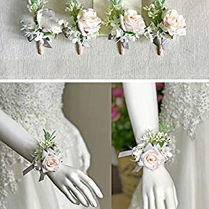 Rose Corsage Flowers Rose Groom Suit Men Boutonniere Wedding Accessories Decor Greenery Brooch Wrist Corsage Bracelet 30