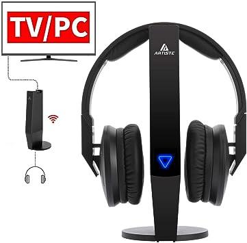 2,4 GHz Wireless TV Auriculares Artiste ADH500 Auriculares inalámbricos PF 100 FT eficaz Distancia HiFi Auriculares con 3,5 mm Conector Jack para Ordenador TV Negro: Amazon.es: Electrónica