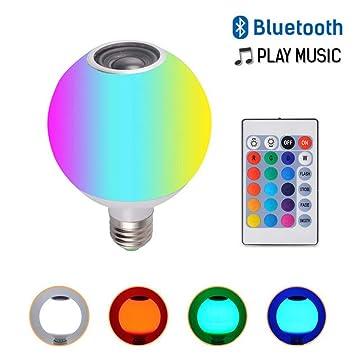 Blanco Smart E27 RGB Altavoz Bluetooth HUAQIMEI Luz de 2EH9IWD