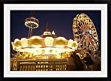"GreatBIGCanvas ""USA, Texas, Galveston Bay, Kemah Boardwalk, Night"" Photographic Print with black Frame, 36"" X 24"""" offers"
