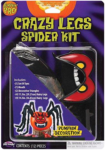 Crazy Pumpkin Legs Spider Pumpkin Carving Jack-O-Lantern Decroation Red Eyes ()