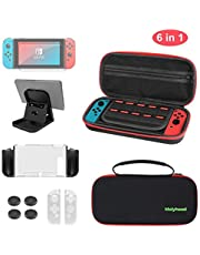 JAMSWALL Accessories kit for Nintendo Switch, 6 in 1 Carrying Case for Nintendo Switch Include Tempered Glass Screen Protector, Thumb Grip Caps, Adjustable Stand and Integrated Protective Case