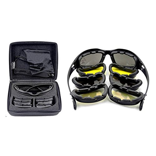 EnzoDate Daisy One C5 Military Dirt Bike ATV Goggles Transition Polarized 4 Lens Kit Outdoor Sports Motorcycling Glasses War Game Army Sunglasses