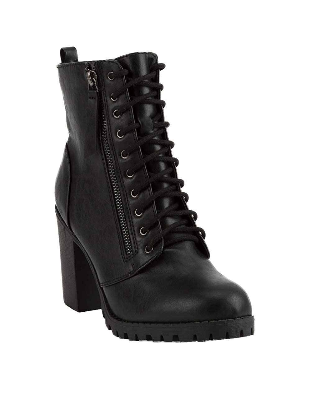33b05ac724c Amazon.com | SODA Malia Black Heeled Combat Boots | Shoes