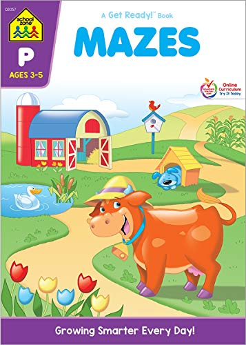 School Zone - Mazes Workbook - Ages 3 to 5, Preschool to Kindergarten, Fine Motor Skills, Attention to Detail, Observation, Illustrations and More (School Zone Get Ready!TM Book Series)]()