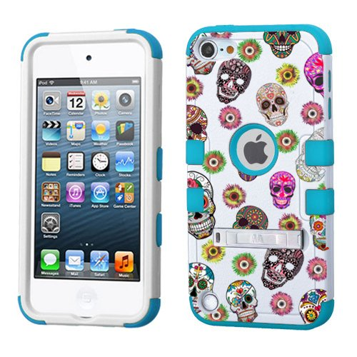 PHONETATOOS iPod Touch 5th 6th Generation Case - Hard Shell Case Compatible with Apple - Shockproof Hybrid 5/6 Cover with Stand for Boys and Girls (Sugar Skulls) (5th Skull Generation Cases Ipod)