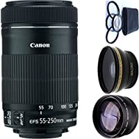 Canon 55-250mm IS STM Lens + 4pc Macro Lenses Set (+1 +2 +4 +10) + High Definition Wide Angle Auxiliary Lens + High Definition Telephoto Auxiliary Lens