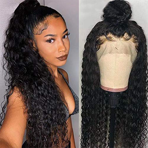 Ms Sunlight Water Wave Lace Front Wigs Human Hair Unprocessed Virgin Brazilian Hair 150% Density Glueless Human Hair Wigs For Women Natural Black Color (24)
