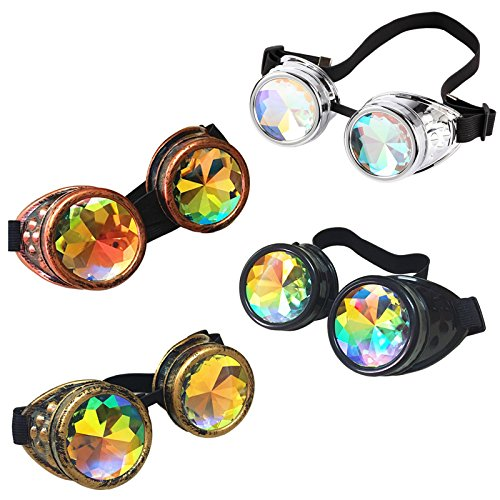 Wholesale Price/Retail 4 colors/Pack Steampunk Goggles Victorian Eyewear Kaleidoscope Goggles Welding Party Cosplay Mirror Vintage Halloween Glasses (4 colors/Pack) -