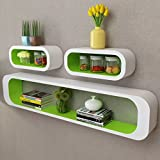 3 White Green MDF Floating Wall Display Shelf Cubes Book/DVD Storage Bigger  Storage