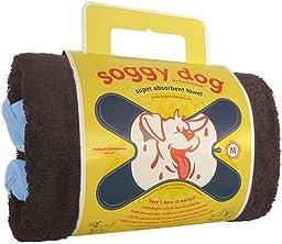 Soggy Dog Towel, Medium Brown and Blue