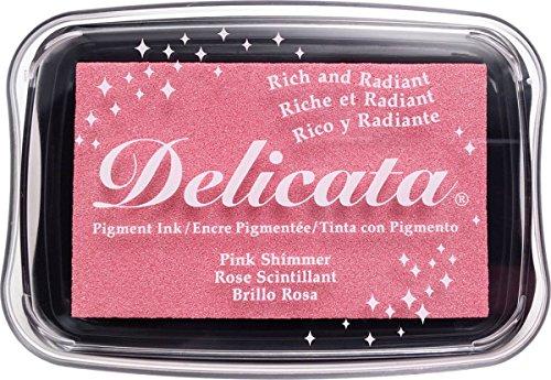 Tsukineko, Delicata, Full Size Ink Pad, Pink Shimmer