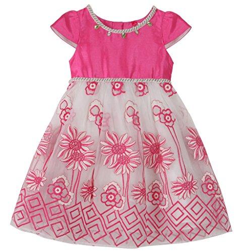 Bonny Billy Girl's Cap Sleeve Beaded Round Neck Satin Flower Girl Dress Pink