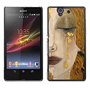 Be Good Phone Accessory // Dura Cáscara cubierta Protectora Caso Carcasa Funda de Protección para Sony Xperia Z L36H C6602 C6603 C6606 C6616 // Blonde Hair Face Sad Cry Lips