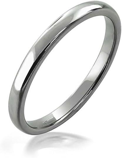 Bling Jewelry Minimaliste Simple D/ôme Empilable Fines des Couples De Mariage Bague De Tungst/ène pour Femme Homme 2MM Ton Argent/é Poli
