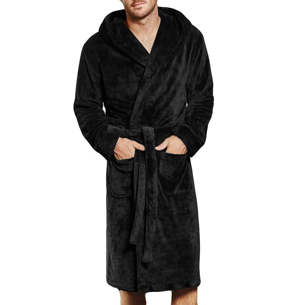 VEKDONE Mens Hooded Bathrobe Fuzzy Fleece Robe Sherpa-Lined Robe Dressing Gown Housecoat Full Length(Black,Small) by VEKDONE Women