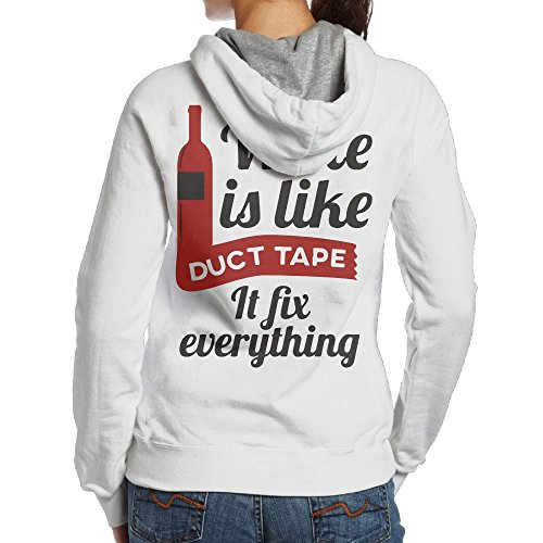 BB&YYY Wine Is Like Duct Tape It Fix Everything Women's Pullover Hoodie Sweatshirt Back Print Hoodies Everything Adult Hoody Sweatshirt