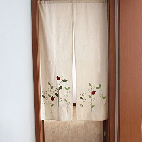 ZHH Hand Embroidered Classical Linen Cotton Door Curtain Trees and Insect Pattern Bedroom Decoration Divider Curtain, 33 Inch x H 59 Inch, Beige