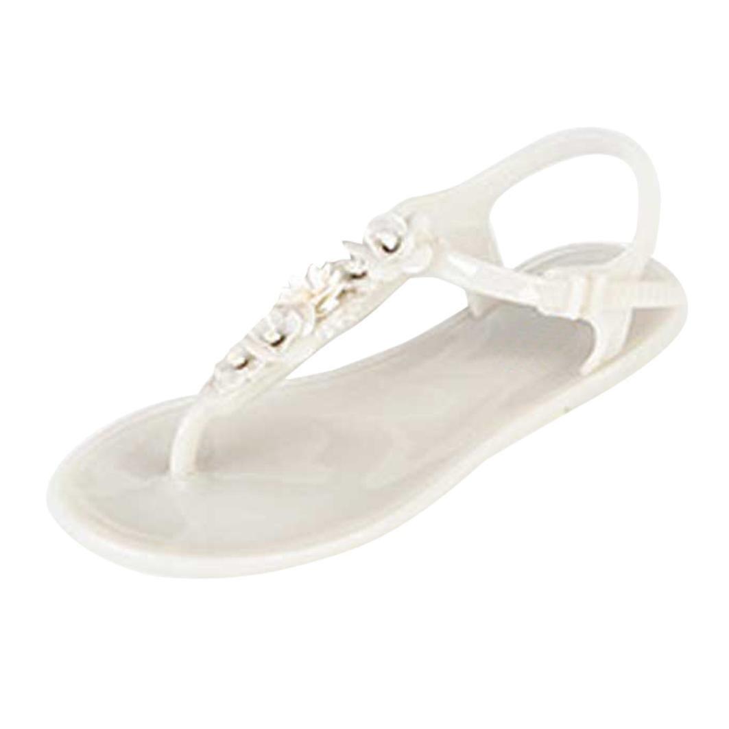 Hemlock Women Bling Flats Sandals Shoes Slip-on Slippers Flip Flops Beach Water Playing Flats (US:7, White)