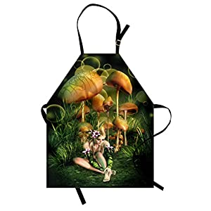 Lunarable Mushroom Apron Fairy Woman Silhouette In Enchanted Forest Elf Pixie In Flowers Grass Unisex Kitchen Bib With Adjustable Neck For Cooking Gardening Adult Size Brown Green