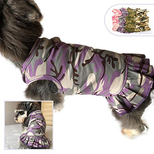 (Lovelonglong Pet Clothing Small Dog Clothes Camouflage Sport Dress T-Shirts Tee Dresses Tanks Top for Small Size Female Dogs Summer Spring Pet Costumes 100% Cotton (M, Purple) )