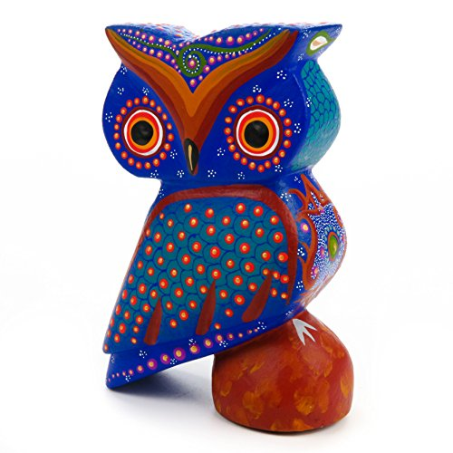 Sculpture Painting - BLUE OWL Oaxacan Alebrije Wood Carving Mexican Folk Art Animal Sculpture Painting
