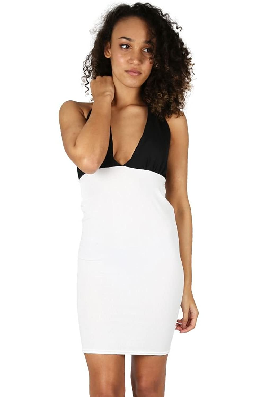 Oops Outlet Women's Halter Neck Tie Back Deep Plunge Contrast Bodycon Mini Dress
