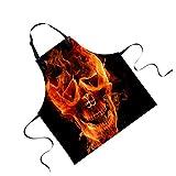 Jili Online Funny Animal Printed Aprons for Men Party Animal Baking Kitchen Chefs Gift - Skull#3