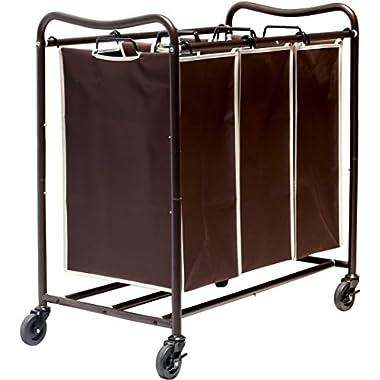 DecoBros Heavy-Duty 3-Bag Laundry Sorter Cart, Bronze (Bronze Bag)