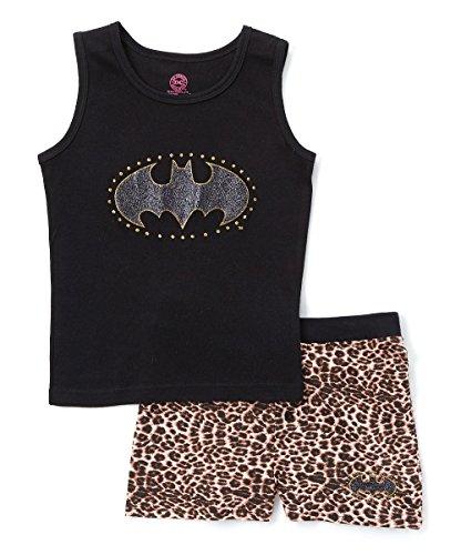 DC Comics Girls' Big Batgirl Leopard Bling Tank Pajama Short Set, Black, 10