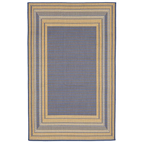 "Cheap Liora Manne TER58276153 2761/53 Etched Border Topaz Rugs, Indoor/Outdoor, 4'10"" X7'6″, Blue"