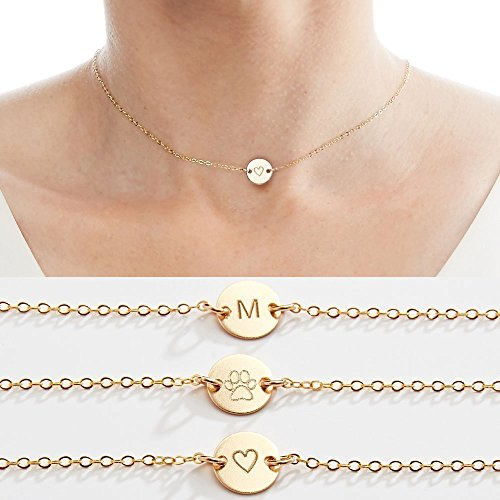 Initial Necklace-Initial Jewelry-Custom Choker Necklace-3/8 in- Engraved Initial Heart Wing Baby Gold Filled, Rose & Sterling Silver-CG253N