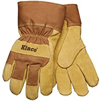 KINCO 1958-L Men's Lined Suede Pigskin Gloves, Heat Keep Thermal Lining, AquaNOT Waterproof Insert, Large, Golden