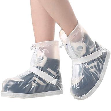 58746dc1aec Cubrezapatillas Impermeable Botas de Agua - Unisex Cubiertas de Zapatos  Antideslizante Lluvia Botas Reutilizables Calzado Fundas de Lluvia para  Zapatos Moto ...