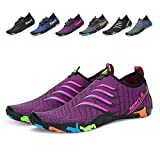 Leaproo Men Women Water Shoes Aqua Socks Barefoot Swim Yoga Surf Shoes for Beach Pool Diving Walking purple-37